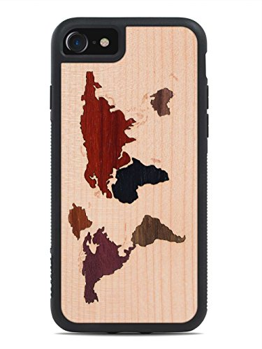 iPhone 7 World Map Inlay Wood Traveler Case by Carved, Unique Real Wooden Phone Cover (Rubber Bumper, Fits Apple iPhone (Recycled Map)