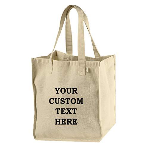 - Custom Text Personalized Lettering Hemp/Cotton Canvas Market Bag Beach Tote