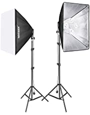 Neewer 1500W Photo Studio Video Softbox Lighting Kit Includes: (2) 50 x 65 centimeters Softbox, (2) 4-Socket Light Holder, (8) 45W Light Bulb, (2) 200cm Light Stand, (2) Carrying Case (UK)