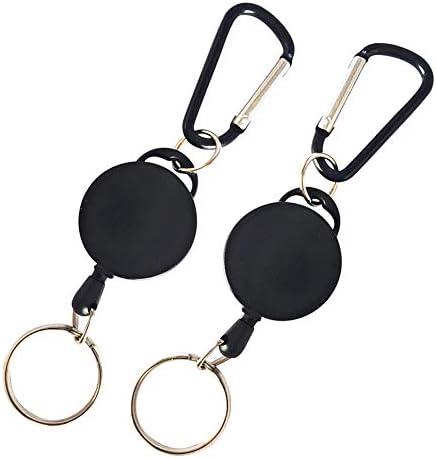 Sisn Schlüsselanhänger, robust, einziehbar, 63,5 cm, mit Nylonseil, 2 Stück Schwarz