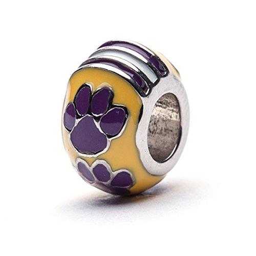 (Louisiana State University Charm | LSU Tigers - Tigers Paw Charm | Officially Licensed Louisiana State University Jewelry | LSU Football | LSU Gifts | Stainless Steel)