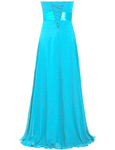 ANTS Turquoise Prom Bead Gown Party Dress Strapless Women's Chiffon Long rzPAw7rqI
