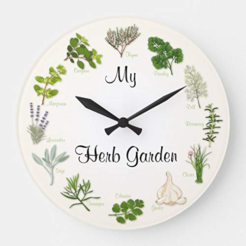 (Moonluna My Herb Garden Wall Clocks Large Decorative Wooden Quartz Silent Clock 14 Inches Home Clock Gifts for)