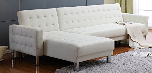 Carabelle Tufted Bonded Leather 2 Piece Sectional Sofa Bed with Chaise Lounge and Storage, Ivory (White Sectional Sofa)