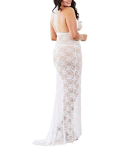 Linda Per lovely Women's Plus Size Stretch Lace Gown Bridal Set, Pearl White, 2X