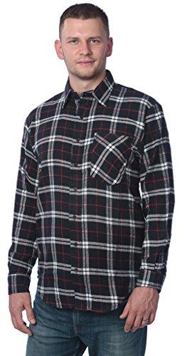 Beverly Rock B8# Men's Brushed Cotton Flannel Plaid Button Down Shirt FS01 Blk/Th, Red (Blk Plaid Button)