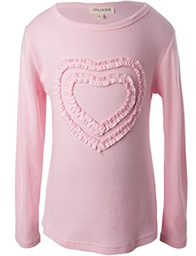 Ipuang Big Girls' Heart-Shaped Long Sleeve T-Shirt 10 Pink