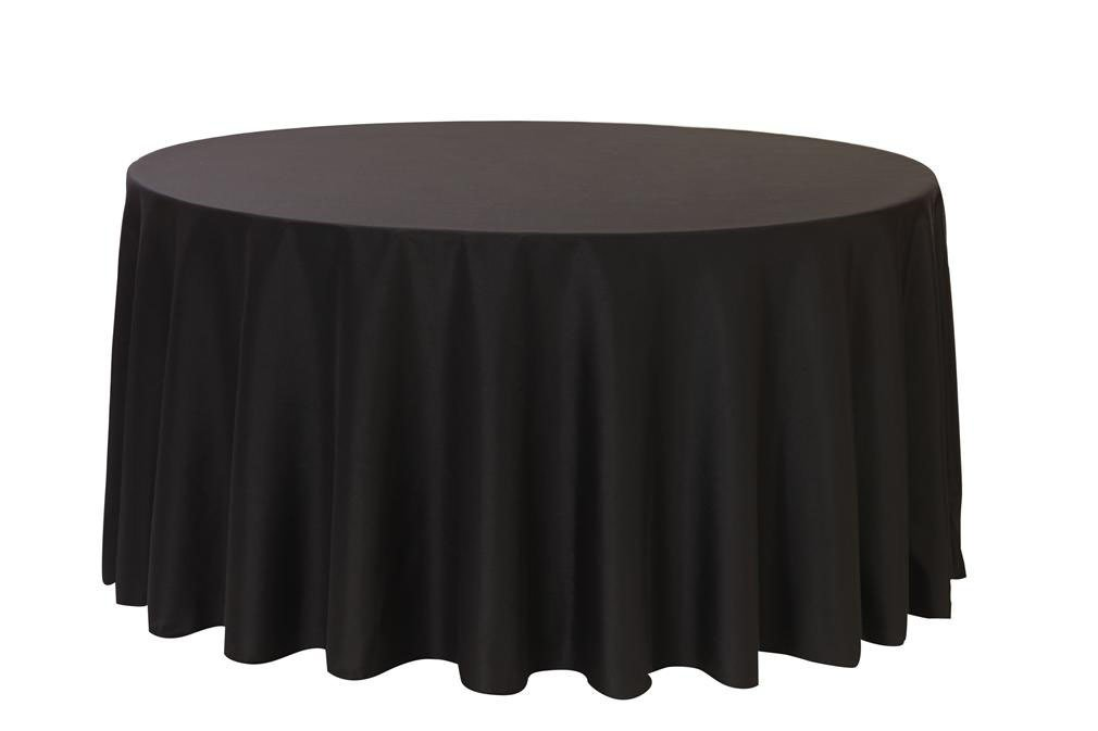 12 Pack 132 Inch Round Polyester Linens for Hotel, Banquet, Party (Black)