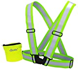 Silver Reflective Vest Running + Runner Wallet | High Visibility Reflector Clothing for Men, Women | Safety Vests for Jogging, Biking, Walking, Motorcycle | Adjustable, Lightweight | Large Size