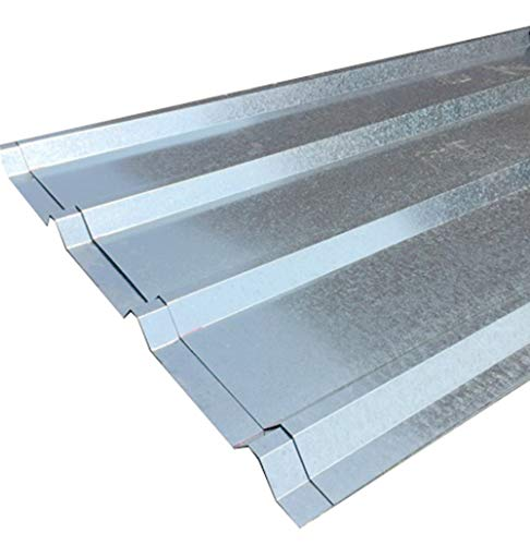 (FixtureDisplays Unit of 10 Sheets of Corrugated Metal Roof Sheets Galvanized Metal 11525-10PC)
