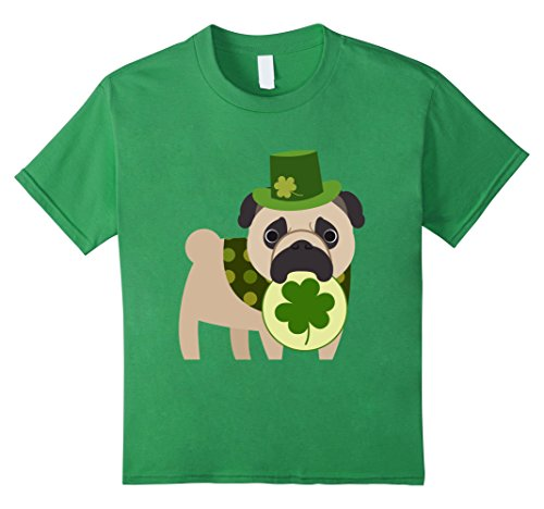 [Kids Cute St. Patrick's Day Pug with Shamrock 6 Grass] (Cute St Patricks Day)