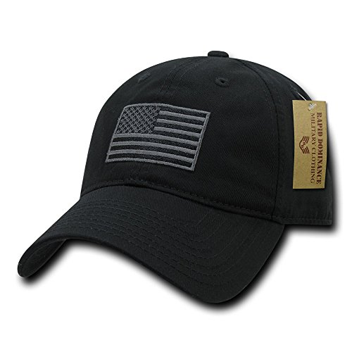 American Flag Embroidered Washed Cotton Baseball Cap - Black