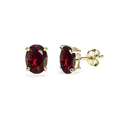 (Yellow Gold Flashed Sterling Silver Created Ruby 6x4mm Oval-Cut Solitaire Stud Earrings)
