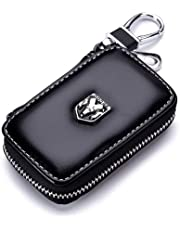 GreenPartys Fit Car Key Case Remote Control Package Black Genuine Leather Auto Keychain Keyring Zipper Bag
