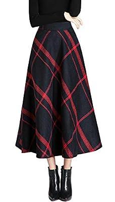 chouyatou Women's High Waist Large-Plaid A-Line Long Wool Blend Skirt Pocket