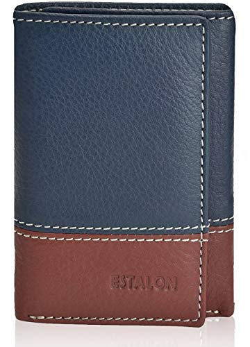 (Slim Leather RFID Trifold for Men - RFID Blocking Genuine Leather wallet 7 Card Holder With ID Window (Navy/Cognac Left Id))