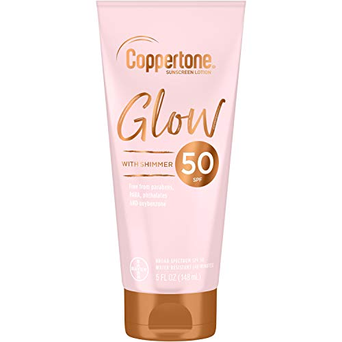 Coppertone Glow Hydrating Sunscreen Lotion with Illuminating Shimmer Minerals and Broad Spectrum SPF 50, Water-resistant, Fast-drying, Free of Parabens, PABA, Phthalates, Oxybenzone, 5 Fl Oz