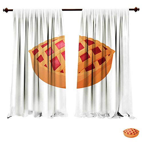 DragonBuildingMaterials Blackout Room Darkening Curtains Home Made Natural Pie with Fruit for Holidays for Christmas Thanksgiving Birthday Halloween Different Celebrations Isolate Drapes for -