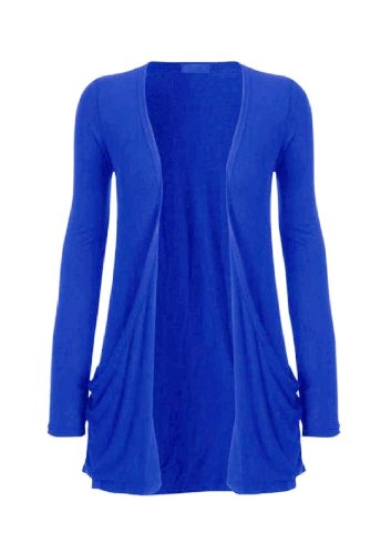 Hot Hanger Ladies Plus Size Pocket Long Sleeve Cardigan 16-26 (24-26 XXXL, Electric Blue)