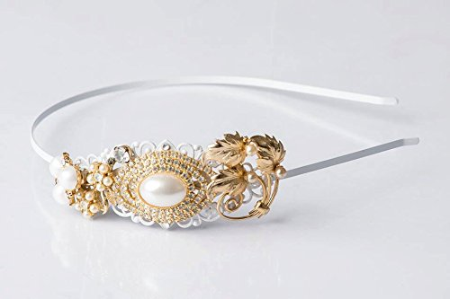 Chic Headband - Vintage Jewelry Collection Tiara - Gold Headband - Bridal Headband - Pearl Headband - Bridal Tiara - Antique - Greek Goddess by The Pearled Rose