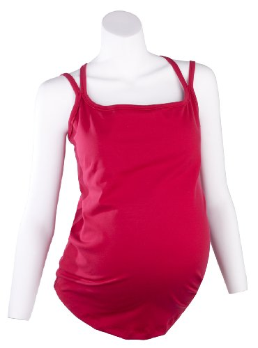 Mountain Mama Women's Marni Movement Maternity Tank Top, Red Bud, XX-Large