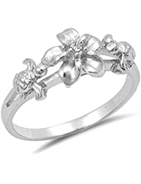 Clear CZ Turtle Hawaiian Tropical Flower Ring Sterling Silver Band Sizes 5-10