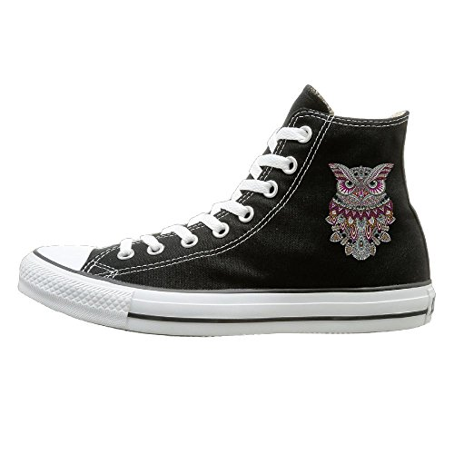 Canvas Sneaker Shoes Owl Coloring Unisex Flat Lace Up High-Top Round Toe Sport Walking Loafers -