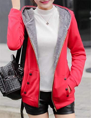 Para Sudadera Espesar Fleece Capucha Rojo Mujer Con Cremallera waT7Zxnxq1