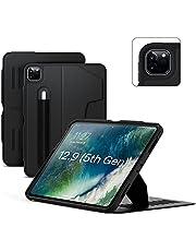 ZUGU etui na iPad Pro 12.9 2021 5. generacji. - Ultra cienka osłona ochronna - bezprzewodowe ładowanie ołówka Apple Pencil - wygodny 10-kątny stojak magnetyczny i automatyczne uśpienie/budzenie [czarne]