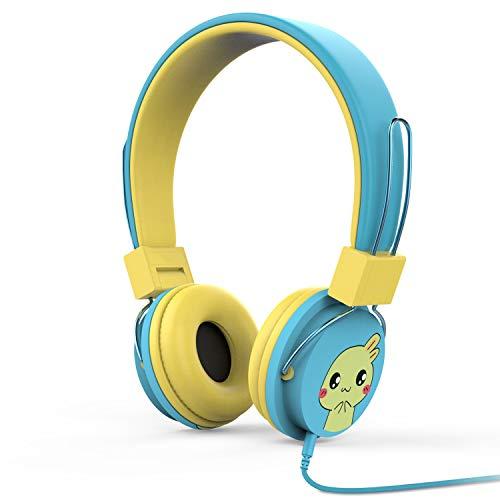 MoKo Kids Headphones, On-Ear Headphones Volume Limiting Wired (1.5m / 4.9ft) Headset with SharePort for Children, Fits Leapfrog, Orbo Jr, Dragon Touch Tablets, Smartphones, Laptop, Blue