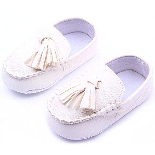 Ochine Bebe Ninos Guisantes Unico Suave Casual Zapatos Cuero Cuna Blanco