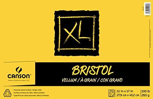 Canson XL Series Bristol Vellum Paper Pad, Heavyweight Paper for Pencil, Vellum Finish, Fold Over, 100 Pound, 11 x 17 Inch, Bright White, 25 ()