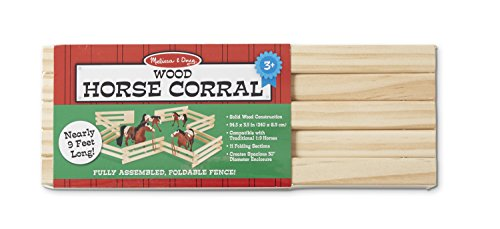 Melissa & Doug Wooden Horse Corral Fence - 11 Folding Sections (3.5 inches high, 9 feet - Corral Fence