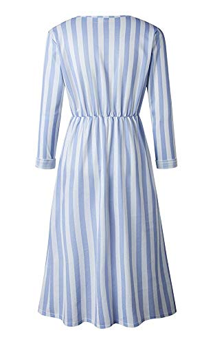 Dress Down Dresses Style Long with Swing Casual Blue Women's 0023 Midi Sleeve Oops Pockets Stripe Button qS140v