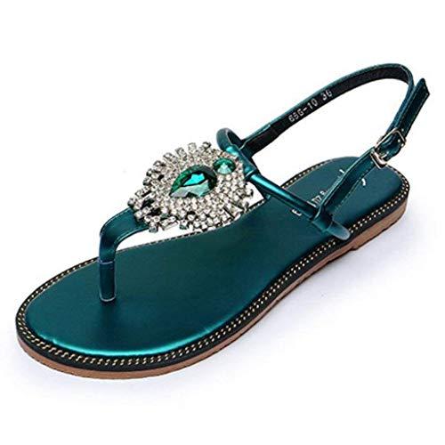Verde Fibbia colore Piatta Dimensione Uk Verde 2 Donna Da Infradito Con Eeayyygch Slingback 7q0AEA
