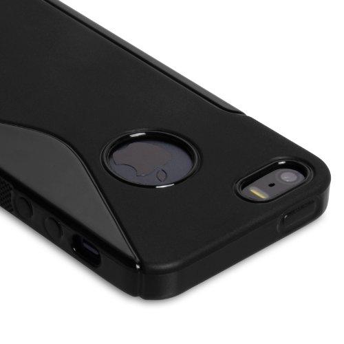 Caseflex Schutzhülle iPhone 5S Hülle Schwarz Silikon Gel S-Linie Case