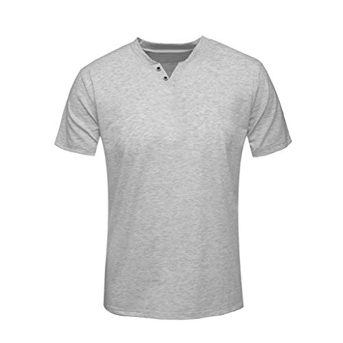 Men's Short Sleeve Solid Casual Sport Tops Comfortable Slim T-Shirt Gray