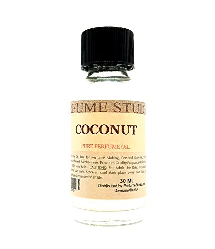 Coconut Perfume Oil for Perfume Making, Personal Body Oil, Soap, Candle Making & Incense; Splash-On Clear Glass Bottle. Premium Quality Undiluted & Alcohol Free (1oz, Coconut Fragrance Oil)