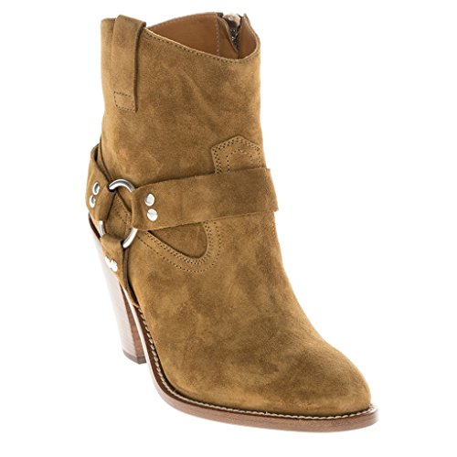 Saint Laurent Women's 'Curtis 80' Harness Western-Style Ankle Boot Suede Tan EU 37 (US 7) (Yves St Laurent Shoes)