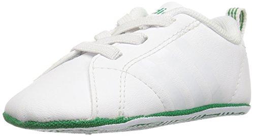 adidas Boys' VS Advantage Crib Shoe, White/White/Green, 0 Medium US Infant Adidas Leather Crib Shoes