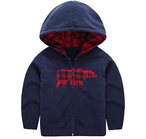HUAER& Baby Boys' Fleece Cartoon Animal Zip Front Jacket Hoodie Sweatshirt (5-6T(height115-125cm/44.85-48.75inch), Dark Blue)