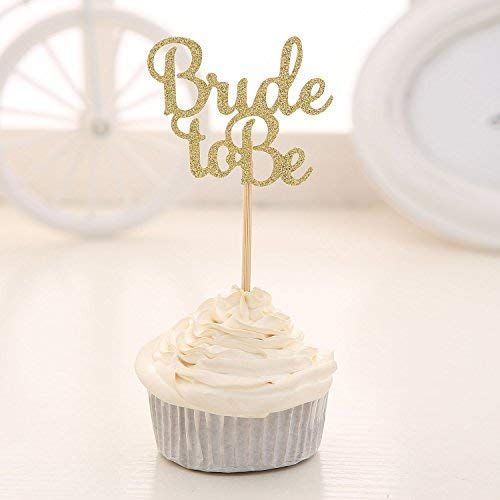 Decoración para cupcakes, decoración de boda, novia, ducha, 24 unidades, color dorado con purpurina