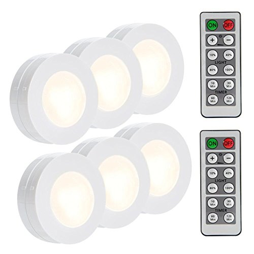 Lighting Battery (LUNSY Wireless LED Puck Lights, Closet Lights Battery Operated with Remote Control, Kitchen Under Cabinet Lighting Wireless, 4000K Natural White - 6 Pack)