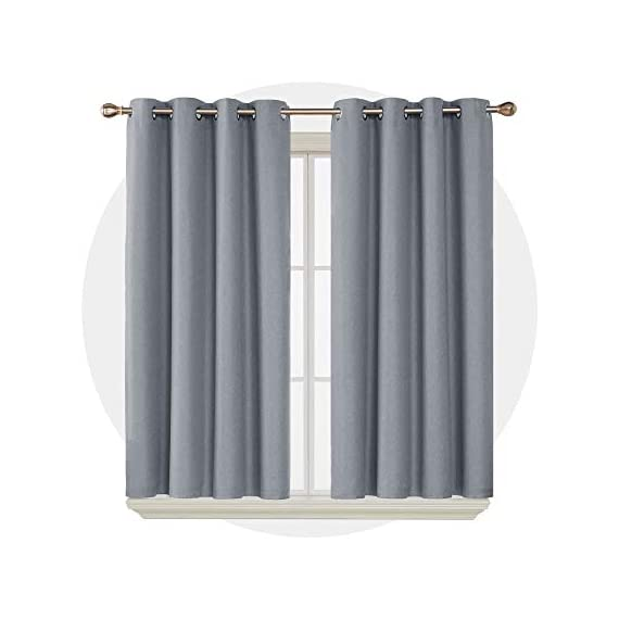 Deconovo Complete Blackout Curtains Faux Linen Thermal Insulated Room Darkening Energy Saving Noise Reduction Grommet Draperies for Small Window Grey 52W x 54L Inch Set of 2 - Available in 5 different colors and 6 sizes options(52x45 inch, 52x54 inch, 52x63 inch, 52x72 inch, 52x84 inch, 52x96 inch). Please select the appropriate products according to your requirements. Deconovo faux linen blackout curtains are made from 100% high quality polyester fabric, imported. These blackout curtains with coating layer, faux linen fabric and a thin layer of fabric was added to the back of the coating, so as to enhance their blackout and insulating functinons. Deconovo total blackout curtains are soundproof, so it can reduce noise and offer you a real dark envirnment and bring you a good sleep during the day time and night. - living-room-soft-furnishings, living-room, draperies-curtains-shades - 41FMxHrrFpL. SS570  -