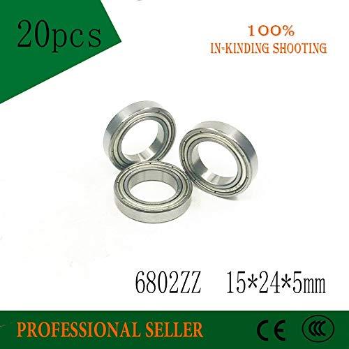 Fevas 6802ZZ Bearing 20PCS 15x24x5 mm Metric Thin Section 6802 ZZ Ball Bearings 61802Z 6802Z