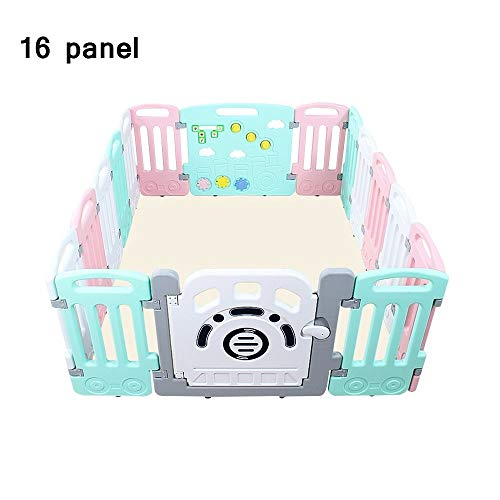 QFFL Baby Playpen, Portable Play Yard 16 Panel Child Safety Activity Center with Door and Game Panel Plastic Play Fence - Large Area (Gray/Pink) Baby Playards (Color : Pink, Size : 173x141x65cm)