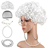 Beelittle-Old-Lady-Costume-Grandmother-Cosplay-Accessories-Set--Granny-Wig-Wig-Cap-Glasses-Pearl-Necklace-B
