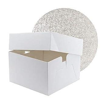 Caja cuadrada para tartas de 30 cm con tambor redondo para tartas de 30 cm: Amazon.es: Hogar
