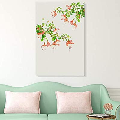 Canvas Wall Art - Red Flowers on Branch with Green Leaves - Giclee Print Gallery Wrap Modern Home Art Ready to Hang - 16x24 inches
