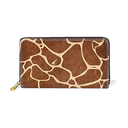 Womens Giraffe Print Wallet - Zip Around Women Organizer Wallet Leather Clutch Long Purse,Giraffe Spot